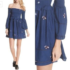 FREE PEOPLE Counting Daisies Embroidered Dress